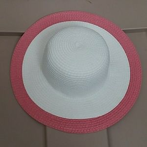 Janie and jack pink and white straw hat
